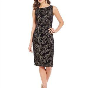 Adrianna Papell Embroidered Velvet Sheath Dress 6